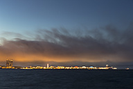 USA, Illinois, Chicago, Navy Pier and Lake Michigan in the evening light - FOF007232