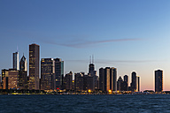 USA, Illinois, Chicago, Skyline and Lake Michigan in the evening light - FOF007236