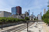 USA, Illinois, Chicago, rail tracks and skyline - FOF007174