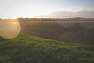 Germany, Berlin, Tempelhofer Feld, former Berlin Tempelhof airport former runway against the sun - ZMF000336