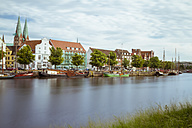 Germany, Schleswig-Holstein, Luebeck, old town, Museum harbour and Saint Mary's Church in the background - KRP001044