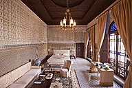 Morocco, Fes, saloon at Hotel Riad Fes - KMF001485