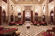 Morocco, Fes, Hotel Riad Fes, lighted entrance hall - KMF001427