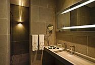 Morocco, Fes, Hotel Riad Fes, lighted bathroom - KMF001433