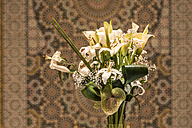 Morocco, Fes, Hotel Riad Fes, bunch of white flowers - KMF001470