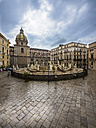 Italy, Sicily, Province of Palermo, Palermo, Piazza Pretoria, Fountain Fontana della Vergogna and Church San Giuseppe dei Teatini in the background - AMF002831