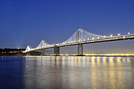 USA, California, San Francisco, Oakland Bay Bridge and Yerba Buena Island at night - BRF000702