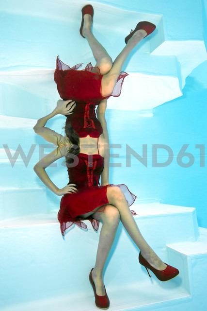 Girl in red dress underwater - YRF000058