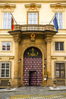 Czechia, Prague, part of facade and entrance of German Embassy - WG000442