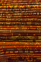 Morocco, Marrakesh, stack of traditional woven carpets - JUNF000035