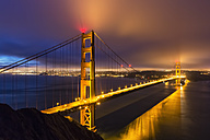 USA, California, San Francisco, skyline and Golden Gate Bridge at the blue hour seen from Hawk Hill - FOF007043