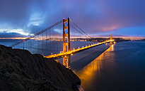 USA, California, San Francisco, skyline and Golden Gate Bridge at the blue hour seen from Hawk Hill - FOF007044