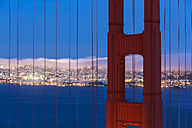 USA, California, San Francisco, skyline and Golden Gate Bridge at the blue hour seen from Hawk Hill - FO007046