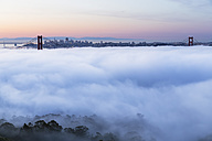 USA, California, San Francisco, skyline and Golden Gate Bridge in fog seen from Hawk Hill - FOF007018