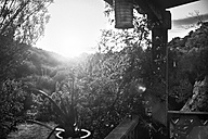 Spain, Majorca, view from porch to rural landscape in sunlight - KOF000004