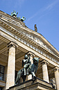 Germany, Berlin, Concert Hall entrance portico with bronze statue - PSF000637