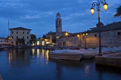 Italy, Veneto, Lazise, Harbour, Church of Saint Nicolo, blue hour - YFF000232