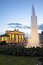 Germany, Berlin, Berlin-Mitte, Pariser Platz, Brandenburg Gate in the evening - WIF001048