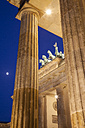 Germany, Berlin, Berlin-Mitte, Pariser Platz, Brandenburg Gate in the evening - WIF001050