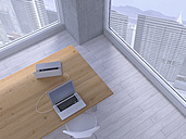 Table with two connected laptops, 3D Rendering - UWF000170