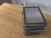 Table with stack of digital tablets, 3D Rendering - UWF000173