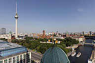 Germany, Berlin, View from Berlin Cathedral to Berlin TV Tower at Alexanderplatz, Red City Hall, St. Nicholas church and Spree river - WIF001052