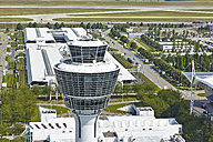 Germany, Bavaria, Munich, aerial view of control tower at Munich airport - KD000015