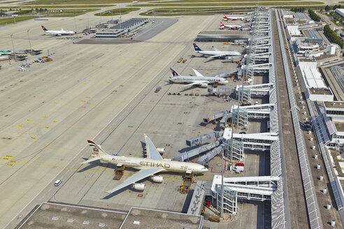 Germany, Bavaria, Munich, aerial view of planes at Munich airport - KD000016