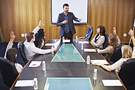 Manager leading business meeting in boardroom - ZEF000270
