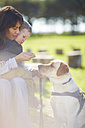 Mother and little son with dog - ZEF000873