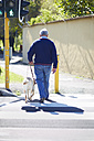 Visually impaired man crossing a street with his guide dog - ZEF000996