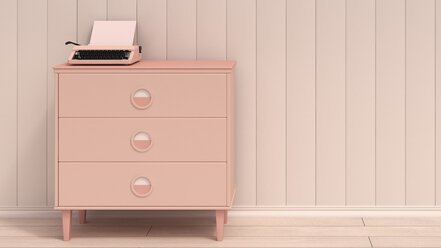 Typewriter on pink commode, 3D Rendering - UWF000183