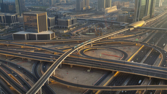 United Arab Emirates, Dubai, Aerial view of Sheikh Zayed Road and metro - HSIF000340