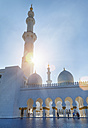 United Arab Emirates, Abu Dhabi, View of Sheikh Zayed Mosque against the sun - HSI000342