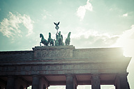 Germany, Berlin, Berlin-Mitte, Brandenburg Gate, Quadriga against the sun - KRPF001153