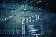 Germany, Berlin, signs at central station - KRPF001145