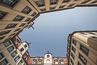 Germany, Saxony, Leipzig, courtyard with neo-baroque facades, extreme worm's eye - ZMF000344