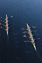 Elevated view of two rowing eights in water - ZEF000475