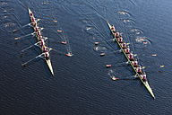 Elevated view of two rowing eights in water - ZEF000483