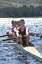 Coxless four rowing boat in water - ZEF000936