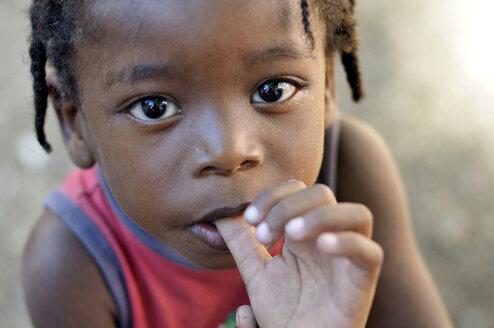 Haiti, Petit Goave, Portrait of anxious looking girl - FLK000467