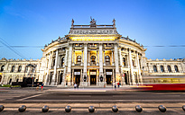 Austria, Vienna, Burgtheater with passing tramway at blue hour - PUF000081