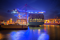 Germany, Hamburg, Cruise Days, Port of Hamburg, container harbour, container ship at night - ROM000016