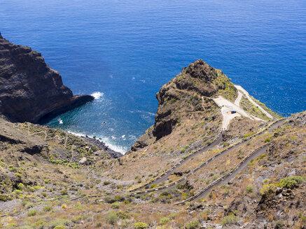 Spain, Canary Islands, La Palma, Tijarafe, cliff line at Camino del Prois - AMF002857