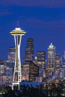 USA, Washington State, skyline of Seattle with Space Needle at blue hour - FOF007106