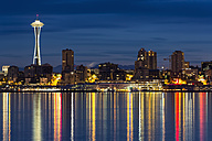 USA, Washington State, Puget Sound and skyline of Seattle with Space Needle at blue hour - FOF007116