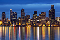 USA, Washington State, Puget Sound and skyline of Seattle at blue hour - FOF007117