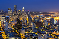 USA, Washington State, Seattle, Cityscape, Blue hour - FOF007132