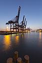 Germany, Hamburg, Port of Hamburg, Container Terminal Burchardkai in the evening - RJ000285