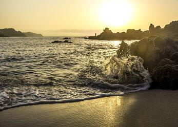 Spain, Catalonia, Lloret de Mar, Platja de Santa Christina at sunrise - PUF000087